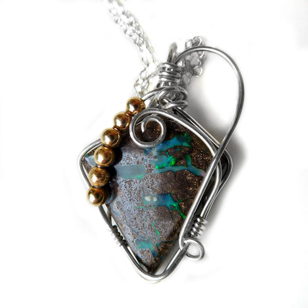 Koroit Boulder opal pendant, Sterling silver wire, 14k gold filled beads, wrapped pendant, unique opal