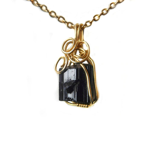 Raw Black Tourmaline pendant, twin crystal, 14k gold filled wire wrapped, black gemstone pendant, rustic