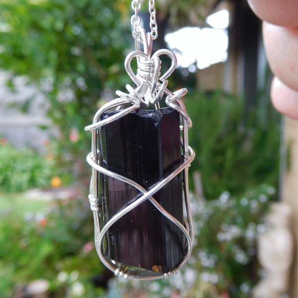 Large Black Tourmaline pendant, natural crystal, sterling wire wrapped pendant, chakras, black gemstone necklace
