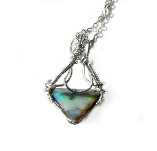 Australian Boulder Opal pendant, sterling silver wire wrapped pendant, unique solid opal, perfect gift