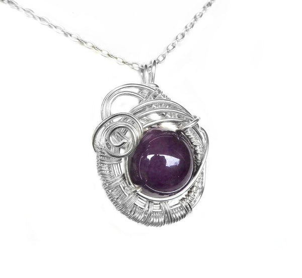 Amethyst gemstone pendant, Sterling silver, weave wire wrapped, pendant gift for her