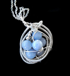 Aquamarine pendant, blue bead cluster, bird's nest sterling silver wire wrapped pendant, gemstone blue pendant necklace