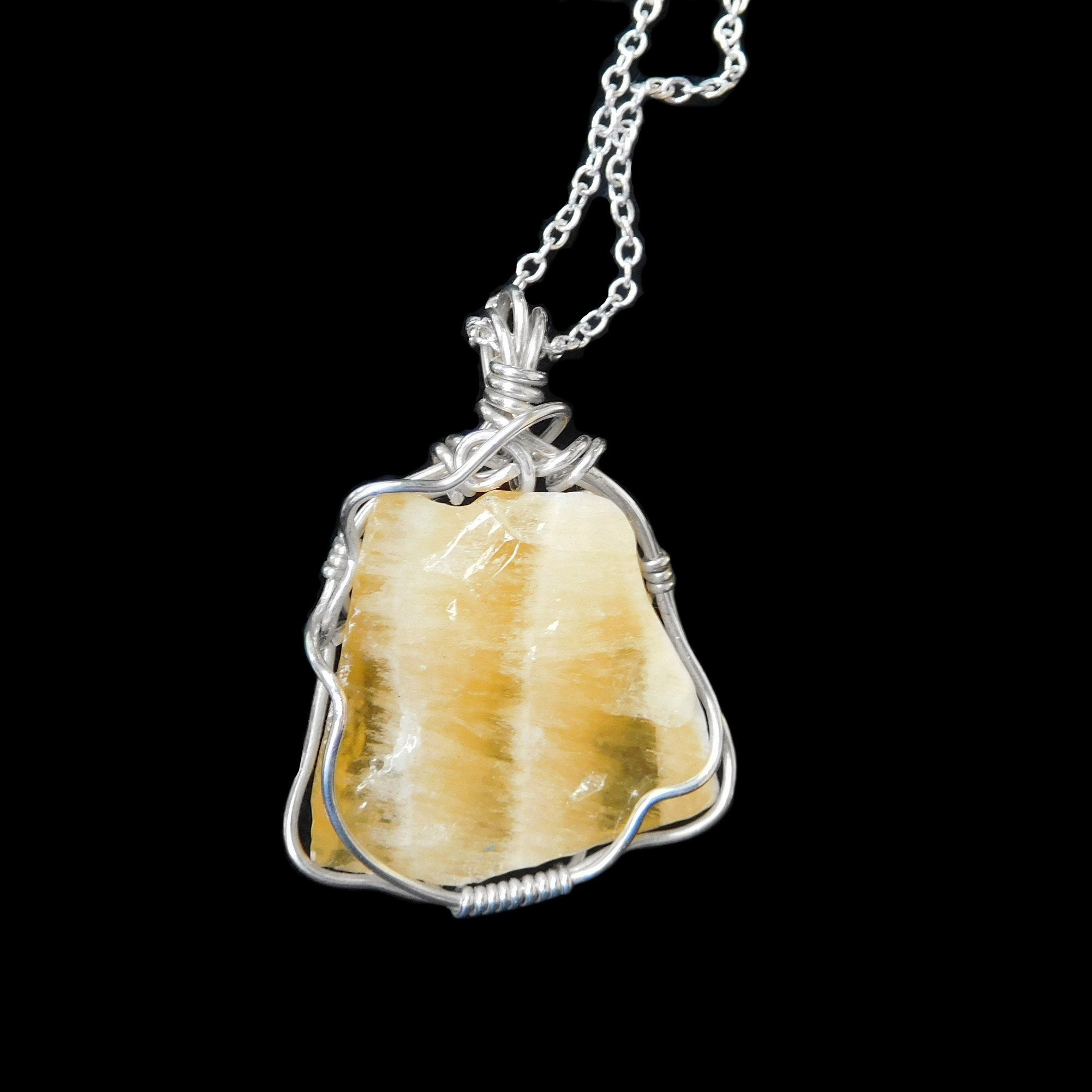 Yellow Calcite pendant, large Calcite natural gemstone, Sterling silver wire wrapped pendant, chakras