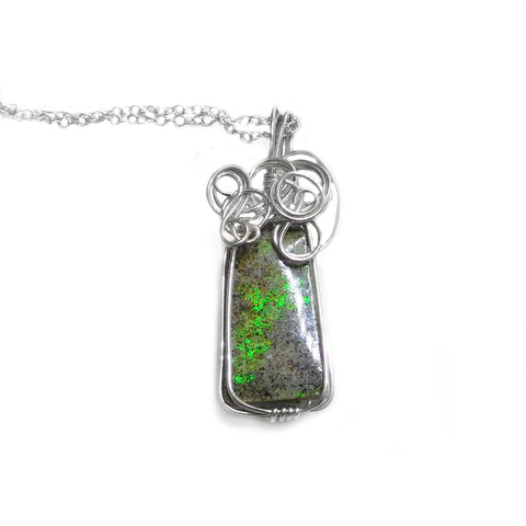 Andamooka Matrix Opal pendant, green flash colour, sterling silver wire wrapped pendant, Australian Opal