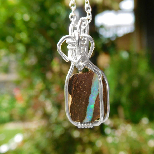 Rough Boulder Opal pendant, Australian small opal, sterling silver wire wrapped pendant, green blue opal