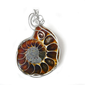 Large Ammonite fossil pendant, Sterling silver wire wrapped pendant, beautiful gemstone, unique gift