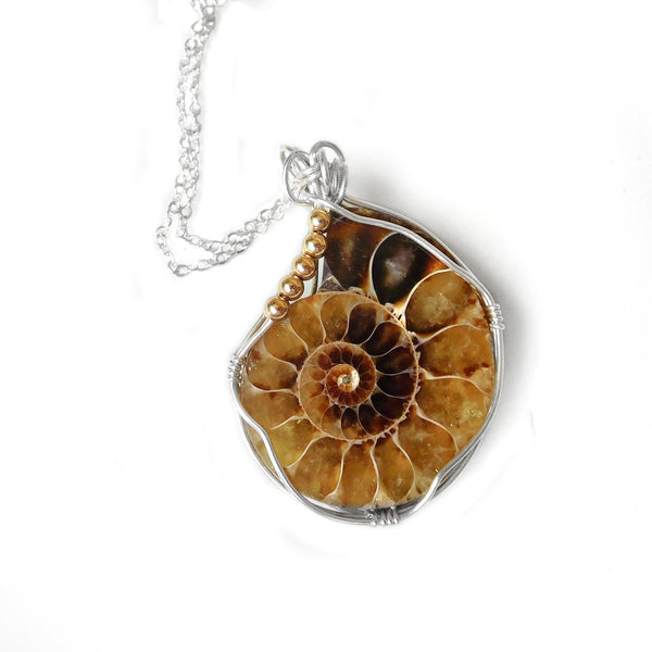 Ammonite fossil pendant, Sterling silver wire wrapped pendant, large beautiful gemstone, unique gift