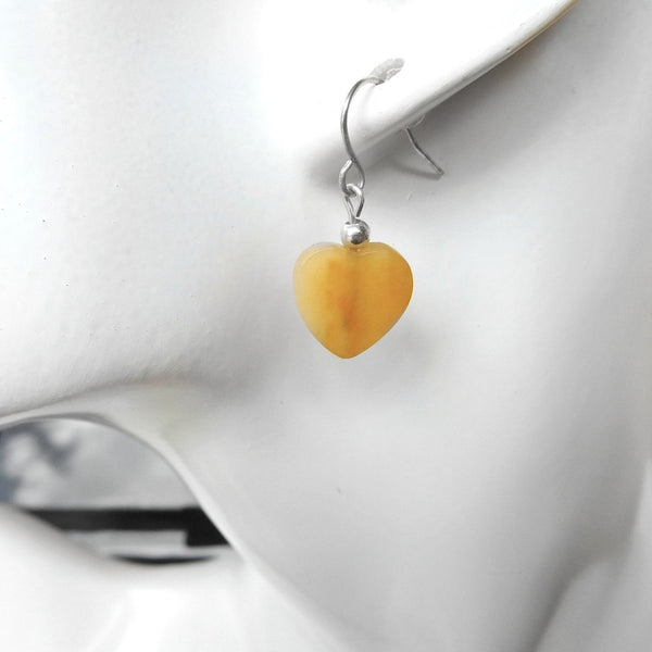Aragonite sterling earrings and pendant set, orange gemstone set, gift for her, heart jewellery