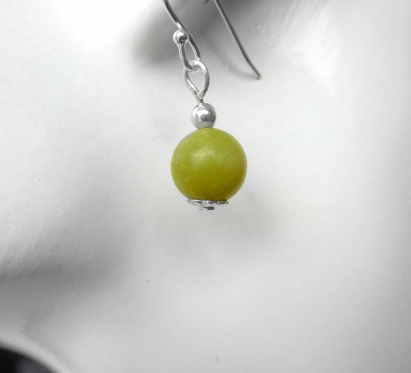 Jade earrings, Sterling silver handcrafted earrings, dangle green gemstone jewellery