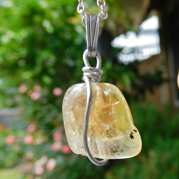 Citrine crystal pendant, Sterling silver wire wrapped pendant, chakra gift, yellow gemstone jewellery