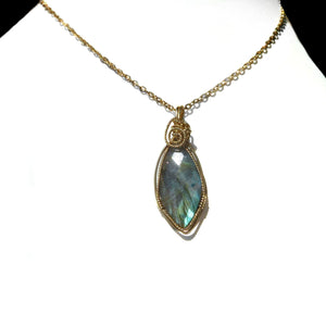 Faceted Labradorite pendant, teardrop 14k wire wrapped pendant, sparkling gemstone