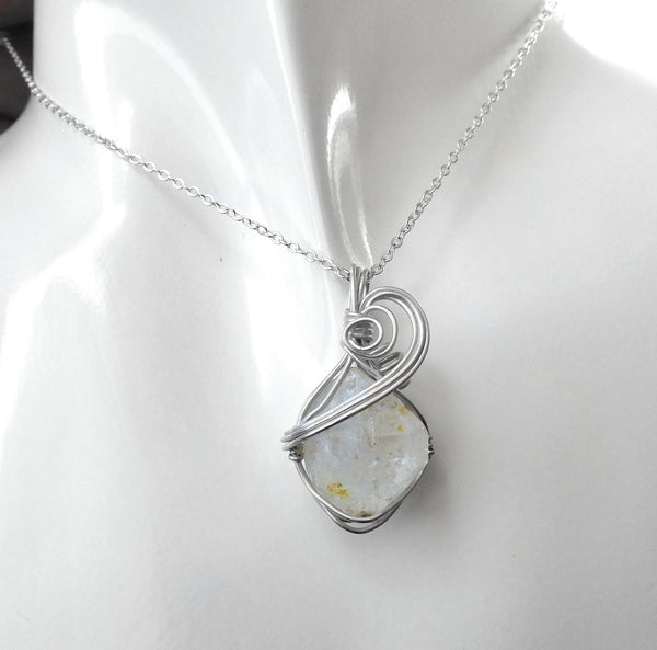 Quartz crystal point pendant, Double terminated, Sterling wire wrapped pendant, natural gemstone