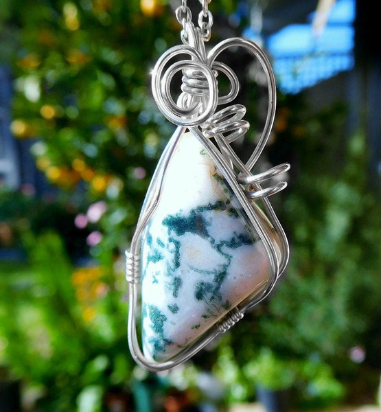 Moss Agate pendant, Sterling Silver wire wrapped pendant natural gemstone green white