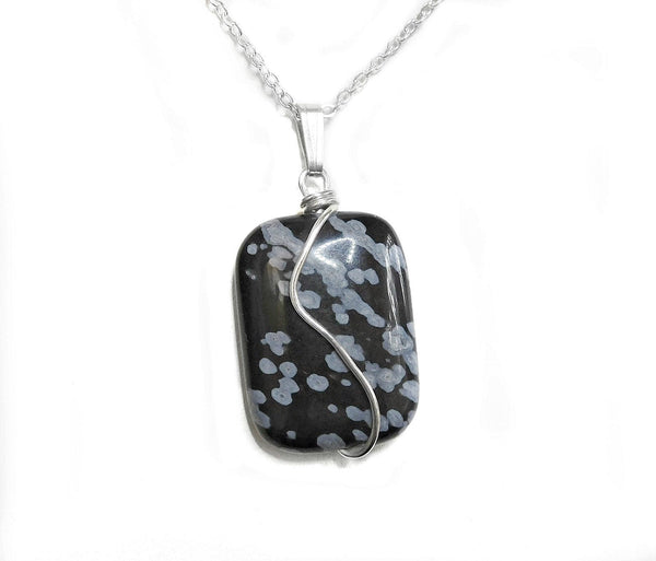 Snowflake Obsidian pendant natural gemstone, Sterling silver wire wrapped pendant, unique gift