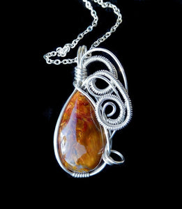 Pietersite gemstone pendant, Sterling silver,  wire wrapped pendant, natural gemstone necklace