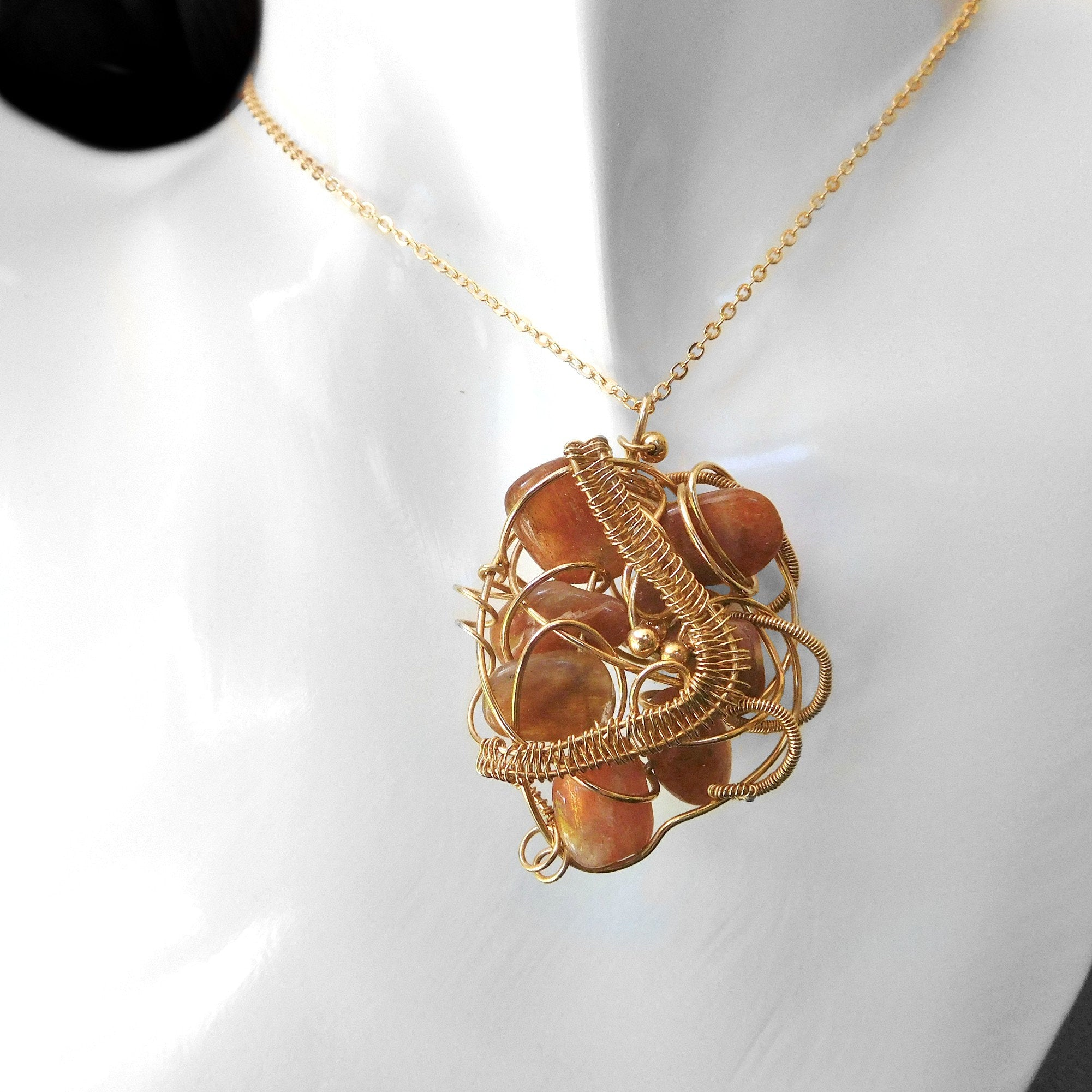 Sunstone bead pendant, 14k gold filled wire wrapped, abstract pendant, large handcrafted gift