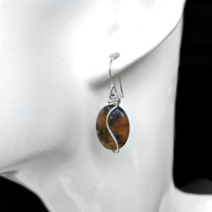 Andalusite Chiastolite earrings, Sterling silver wrapped earrings, dangle gemstone earrings