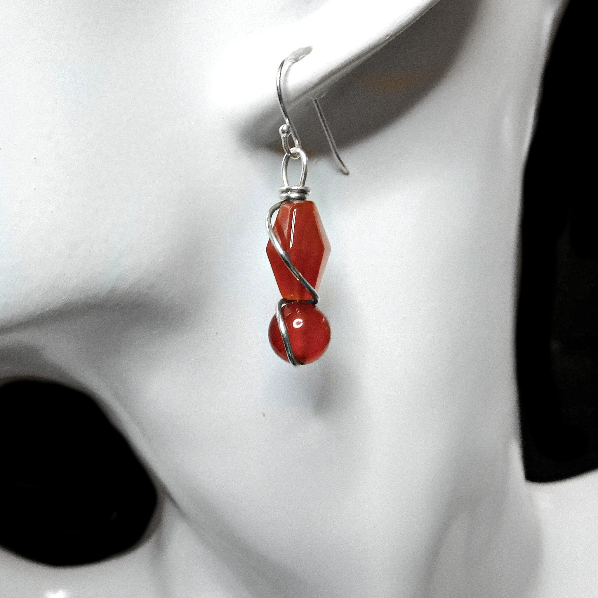 Carnelian earrings, Sterling silver wire wrapped handcrafted earrings, red gemstone earrings