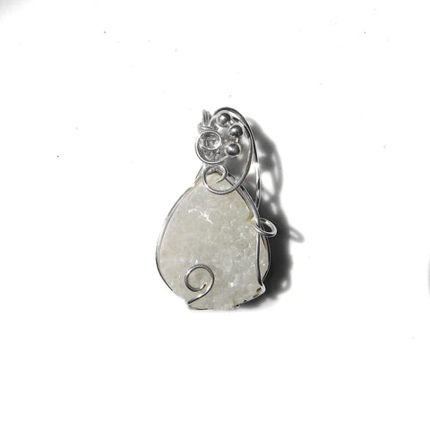 Quartz crystal druzy pendant, Sterling silver wire wrapped,natural gemstone pendant