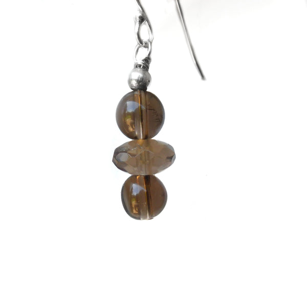 Smoky Quartz sterling earrings, brown gemstone earrings, earring gift
