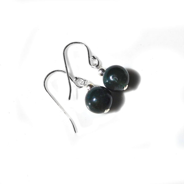 Bloodstone deep green earrings, Sterling silver, handcrafted dangle gemstone earrings