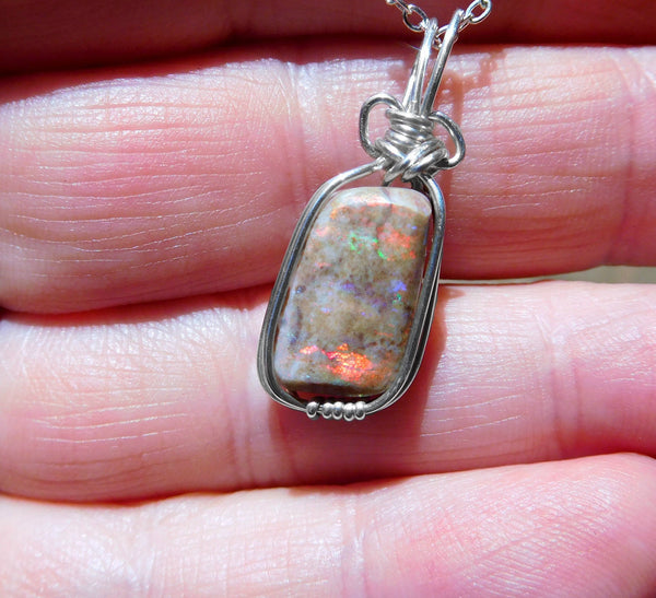 Opal pendant, Andamooka Matrix opal, Sterling silver, rainbow colours, wire wrapped pendant, unique unisex opal