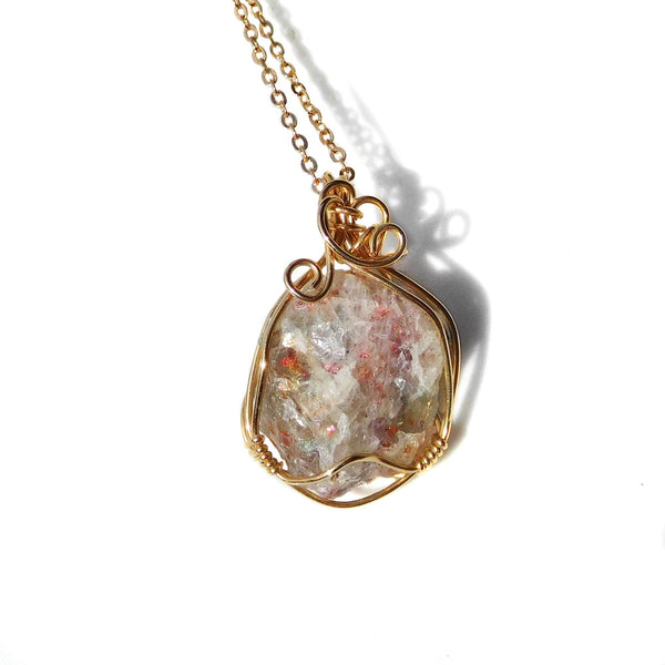 Raw Sunstone crystal pendant, 14k gold filled wire wrapped pendant, natural crystal, chakra crystal necklace