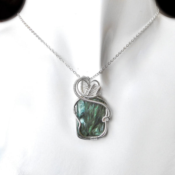 Seraphinite pendant, Angel stone, sterling silver weave wire wrapped pendant, green gemstone