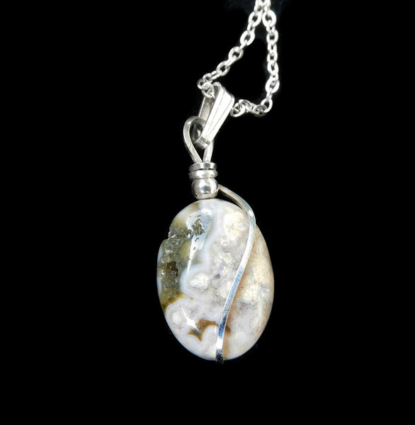Ocean Jasper pendant, sterling wire wrapped pendant, gemstone oval necklace