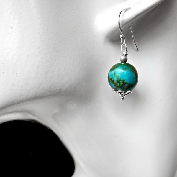 Chrysocolla earrings, natural green gemstone, Sterling silver wire wrapped, gemstone, gift