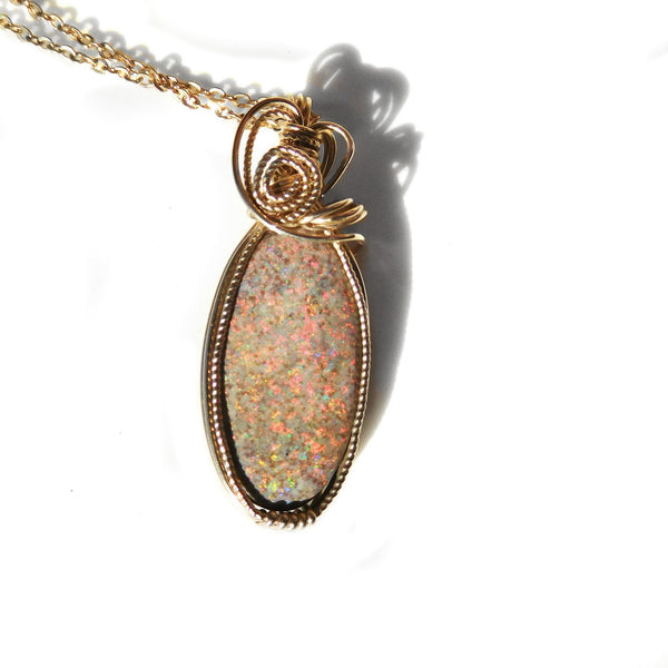 Rainbow Matrix Opal Pendant, Australian Andamooka opal, red pinfire, 14k gold fill, wire wrapped elegant pendant