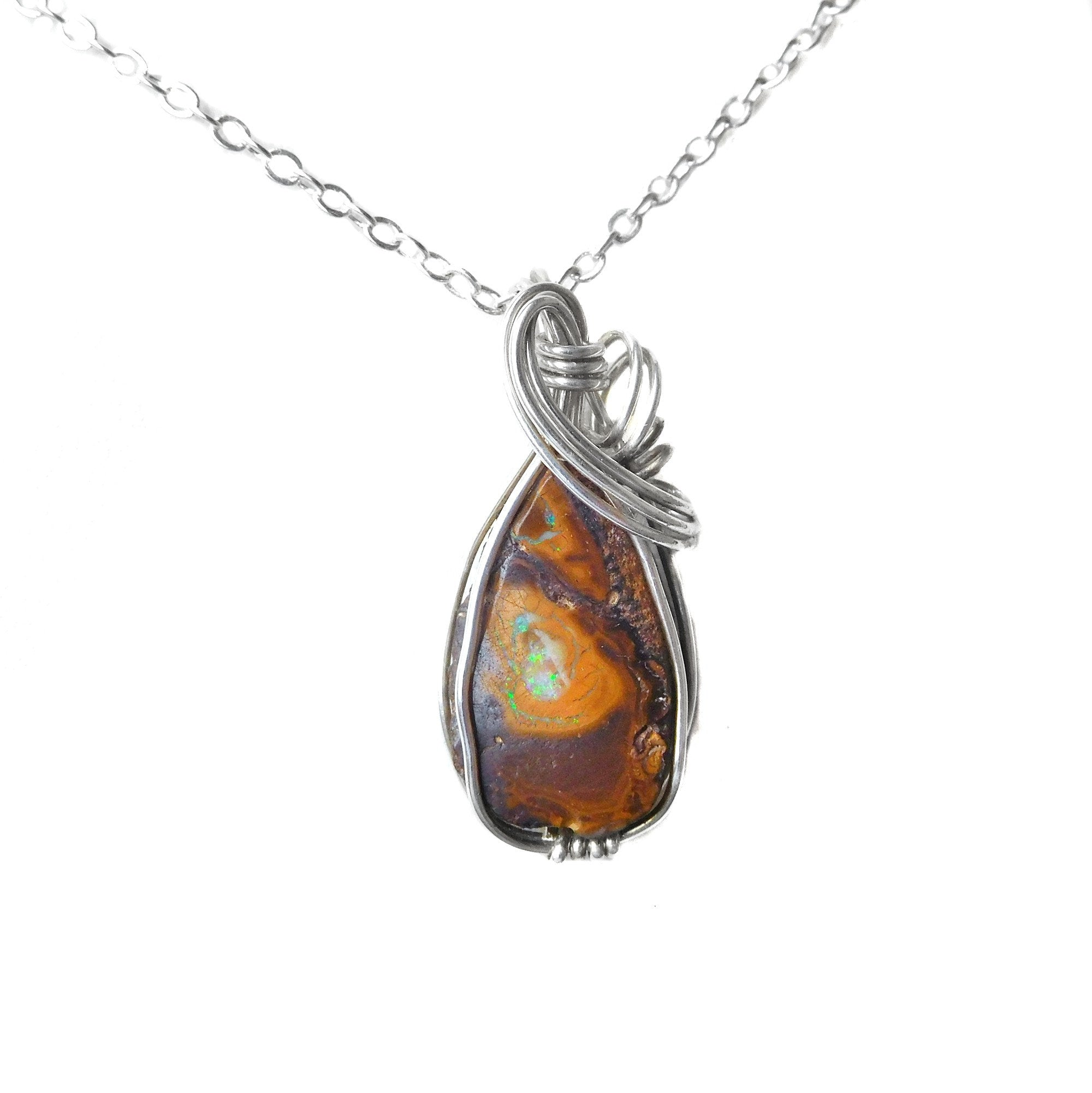 Koroit rough Opal pendant, small opal, sterling silver, wire wrapped pendant, unique gift