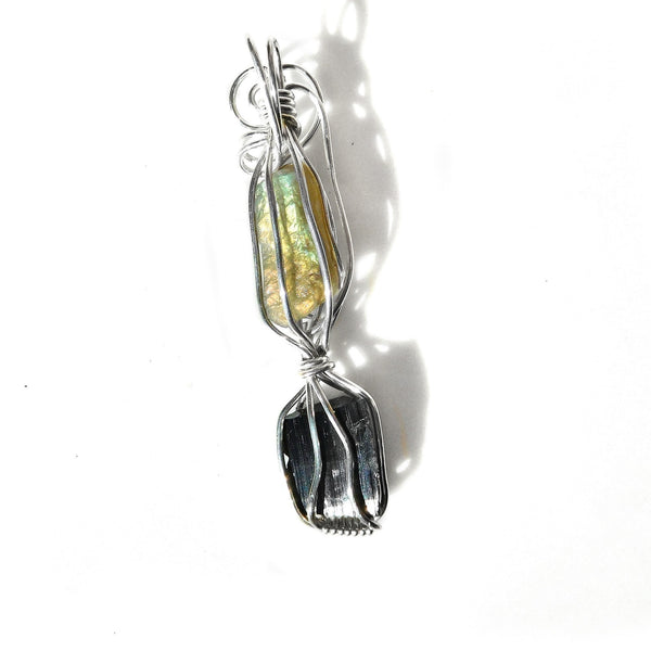 Raw Labradorite & Black Tourmaline pendant, Sterling silver wire wrapped pendant, sparkling gemstone