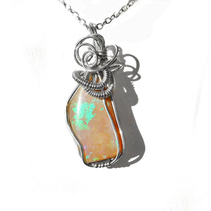 Andamooka opal pendant, Honey opal, Sterling silver wire wrapped pendant, unusual opal pendant