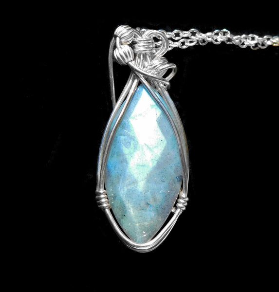 Faceted Labradorite pendant, blue teardrop Sterling silver wire wrapped pendant, sparkling gemstone