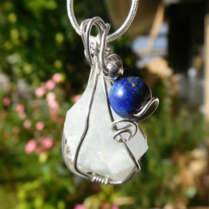 Raw  Aquamarine pendant Lapis Lazuli, Sterling silver wire wrapped pendant, blue natural crystal gemstone