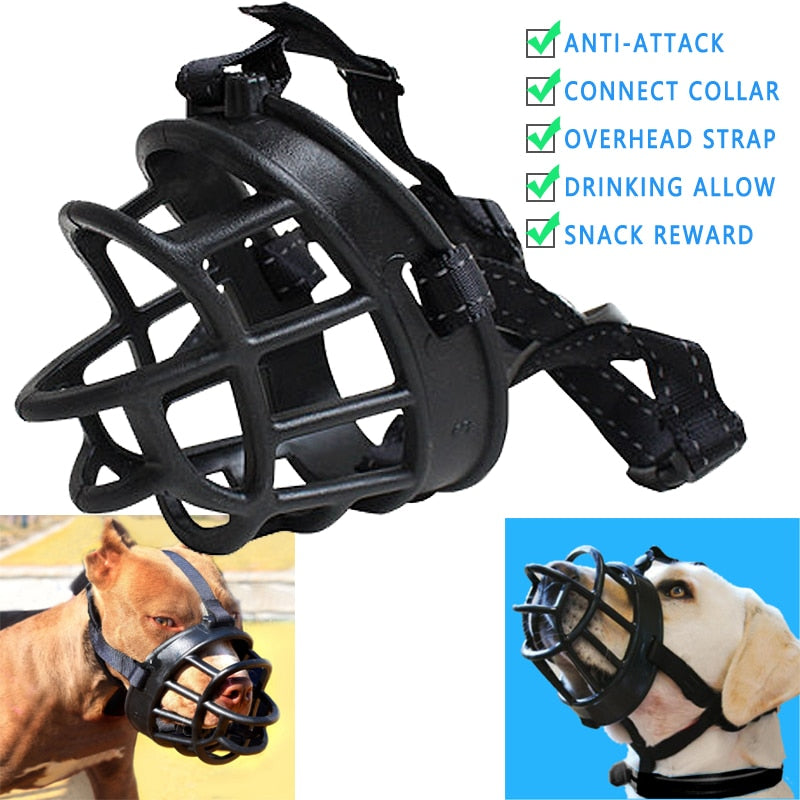 Adjustable Dog Muzzle Soft Silicone Breathable Mesh