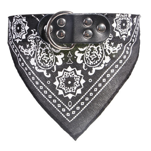 Adjustable Dog Bandana Leather Printed Soft Collar