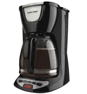 12 Cup Black Basket Coffee Maker, with Timer