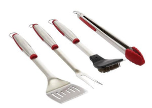 Four Piece Stainless Steel Soft Grip Barbecue Tool Set