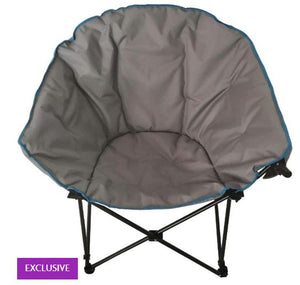 Grey Adult Camping Chair, with Wine Glass Holder