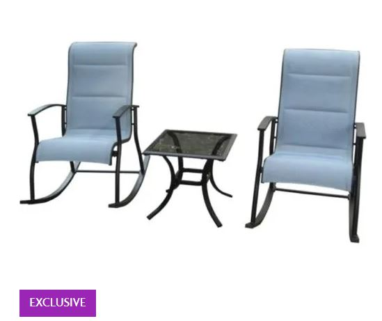 3 Piece Clarity Steel Rocking Chat Set