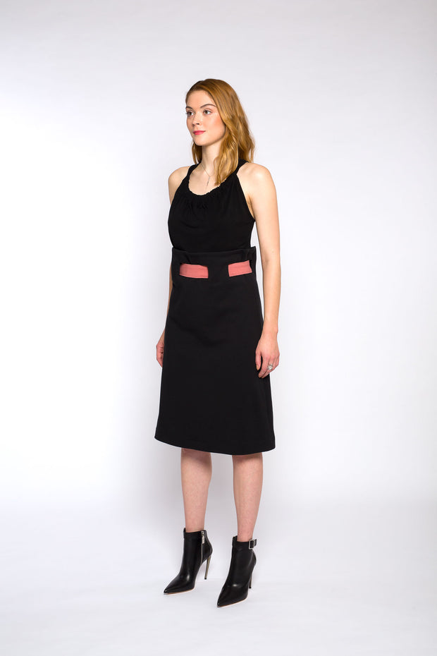 ALICE belted skirt, black