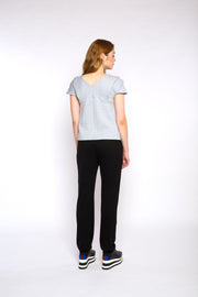 CHLOE draped top, blue/grey
