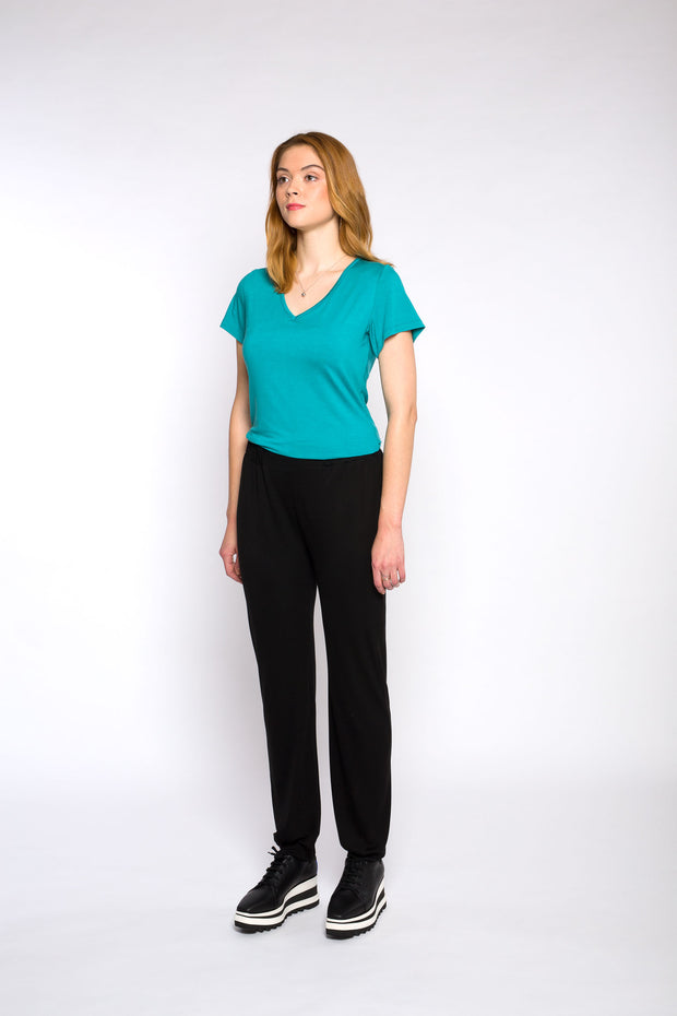 CLAIRE V-neck top, aqua