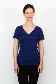 ADÈLE V-neck top, cool blue