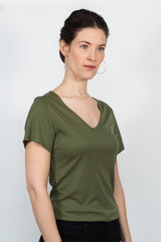 ADÈLE V-neck top, warm green