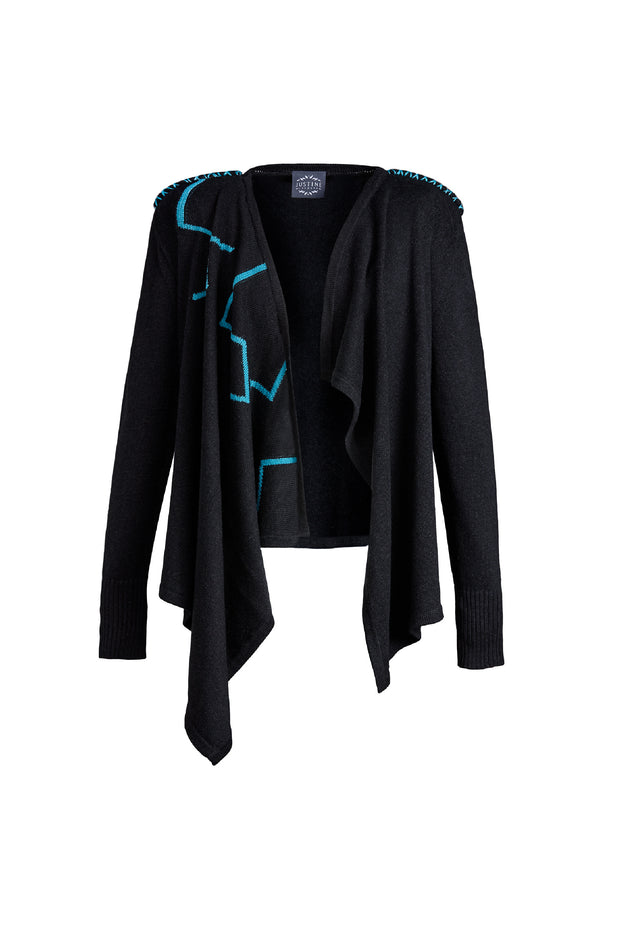 LUCIE knitted cardigan, dark grey/blue