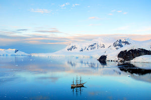 Sunset over a Three Mast Tall Ship in Antarctica