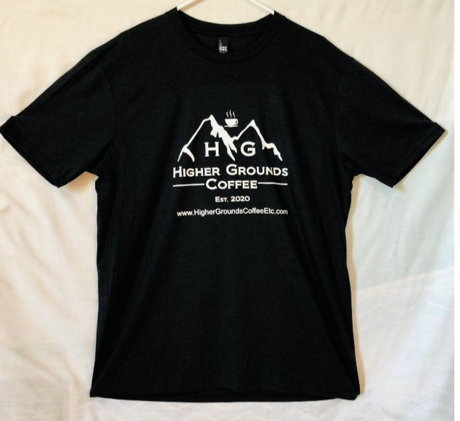 Printed Logo Tee Shirt - Black - Higher Grounds Coffee